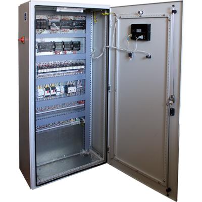 Автоматизация системы водоснабжения - шкаф управления с открытой дверцей